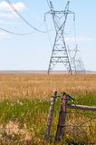 Giant steel power line towers Stock Photos