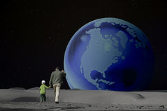Giant Steps are What You Take. Father and son jumping across the moon, with a smaller earth rising on the horizon vector illustration