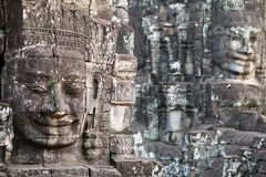Giant stone face of Prasat Bayon temple, Cambodia Royalty Free Stock Photography