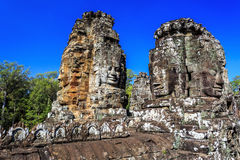Ancient Bayon temple in Angkor Thom, Siem Reap, Cambodia Royalty Free Stock Images