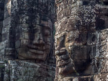 Giant Stone Faces at Bayon Temple at Angkor, Cambodia Royalty Free Stock Images