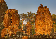 Giant stone faces at Bayon Temple in Cambodia Stock Photography