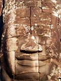 Giant stone head. Khmer Art. Giant stone head at the bayon temple, near angkor wat, Cambodia stock photography