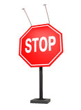 Giant stop sign, isolated on white, clipping path. Giant stop sign, with lights, isolated on white, with clipping path, 3d illustration Royalty Free Stock Photography
