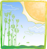 Giant sun on summer. Illustration of giant sun in summer for greeting card background Royalty Free Stock Photo