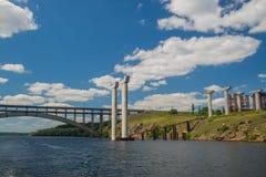 Giant supports for bridge Stock Photos