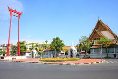 The Giant Swing. Big swing,landmark bangkok,red,wood swing Royalty Free Stock Image