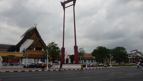 Giant Swing or Sao Chingcha is a religious structure in Phra Nakhon location in front of Wat Suthat stock video