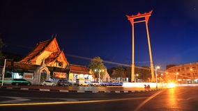 Giant Swing and Suthat Temple at Twilight in Bangkok Stock Photo