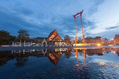 The Giant Swing and Suthat Temple at Twilight Time, in Bangkok T Royalty Free Stock Images