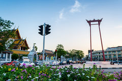 Giant Swing and Suthat Temple at Twilight Time, Bangkok, Thailan Royalty Free Stock Photography