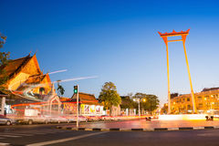 Giant Swing and Suthat Temple at Twilight Time, Bangkok, Thailan Royalty Free Stock Images
