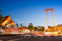 Giant Swing and Suthat Temple at Twilight Time Royalty Free Stock Photo