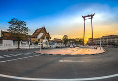 The Giant Swing with Temple of Buddha (Bangkok, Thailand) Royalty Free Stock Photography