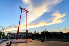 The Giant Swing at twilight in Bangkok, Thailand royalty free stock photo