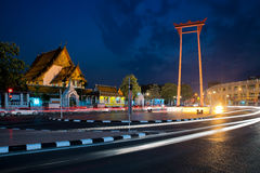 Giant Swing with Wat Suthat Temple at night in Bangkok, Thailand Royalty Free Stock Images