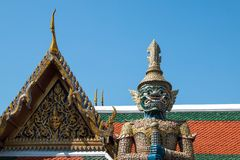 The giant in Temple of the Emerald Buddha Wat pha kaew stock photography