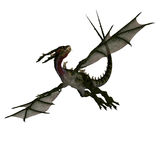 Giant terrifying dragon with wings and horns. 3D rendering of a giant terrifying dragon with wings and horns attacking with clipping path and shadow over white Royalty Free Stock Photo