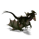 Giant terrifying dragon with wings and horns Stock Image