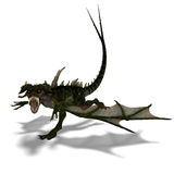 Giant terrifying dragon with wings and horns. 3D rendering of a giant terrifying dragon with wings and horns attacks with clipping path and shadow over white Royalty Free Stock Image