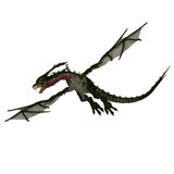 Giant terrifying dragon with wings and horns. 3D rendering of a giant terrifying dragon with wings and horns attacks with clipping path and shadow over white Royalty Free Stock Photos