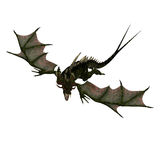 Giant terrifying dragon with wings and horns Stock Photos