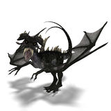 Giant terrifying dragon with wings and horns Royalty Free Stock Photos