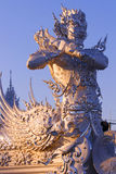 Giant Thai. Sculpture on the roof, Stuco, Thailand, Temple Rongkhun, Chiangrai, image statue Royalty Free Stock Photography