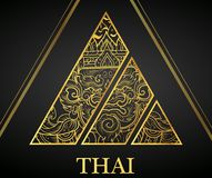 Giant Thai art element Traditional design gold for greeting cards,cover Royalty Free Stock Image