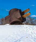 The Giant Three-Way Plug in the snow, at the Philadelphia Museum Royalty Free Stock Images