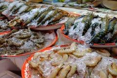 Giant Shrimp On A Plate. Giant Tiger Shrimp on sale at the Or Tor Kor market in Bangkok, Thailand stock images