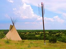 Giant tipi and arrow. This giant tipi and arrow overlook the Palo Duro State Park. The large canyon was a place of the native Indians stock images