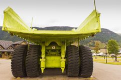 Giant Titan mining haul truck. Rear view showing the gigantic box of the Titan mining haul truck on display in the town of Sparwood, BC, Canada Royalty Free Stock Images