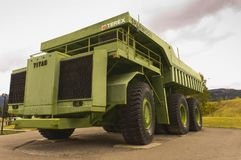 Giant Titan mining haul truck. The 350 tonne, 66 foot, 3,300 horsepower 1974 Terex Titan mining haul truck on display in the town of Sparwood, BC, Canada Royalty Free Stock Images