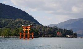 Giant Torii on Miyajima island, Japan.  royalty free stock images