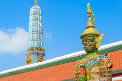 Giant. Tradition thai style statue in the temple of bangkok province (Thailand Stock Photo