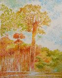 Giant tree forest fine art acrylic oil painting. Giant tree forest fine art acrylic oil beautiful impressionism painting Stock Photos
