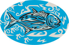 Giant Trevally Side Oval Tribal Art Stock Photography