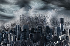 Tsunami tidal wave. Over New York City, natural disaster catastrophe