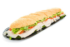 Giant Turkey Sandwich Isolated Royalty Free Stock Photo