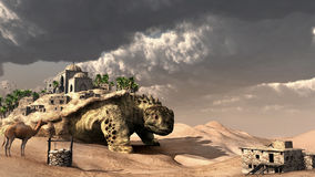 Giant turtle on the desert Stock Photos