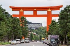 Giant vermilion Torii on the street leading to Heian Shrine. Stock Photo