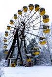 Giant vertical revolving wheel with passenger cars in Pripyat. royalty free stock image