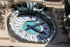 Giant Clock on The Casino of Monaco. Giant Vintage Clock on The Casino of Monte-Carlo, Monaco - French Riviera Stock Image