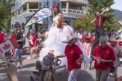 Canada Day celebrations parade at Whistler Village royalty free stock photo