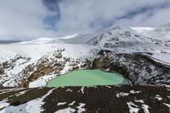 Giant volcano Askja offers a view at two crater lakes. The smaller, turquoise one is called Viti and contains warm geothermal wate Stock Photography