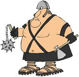 Giant warrior. This illustration depicts a large man in leather carrying a spiked ball and axe Royalty Free Stock Photography