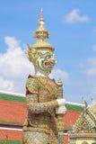 Giant Wat Pra Kaew Thailand. Demon guardian at Wat Pra Kaew royalty free stock image