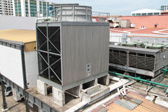 Giant water-cooled air conditional outdoor unit. Concept of industrial ventilation stock photos