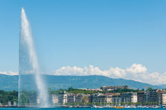 Giant Water Fountain in Montreux, Switzerland. Giant Water Fountain in the lake in Montreux, Switzerland Royalty Free Stock Photography